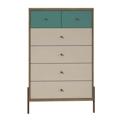 Joy 48.43 in. Tall 6-Drawer Blue and Off White Dresser