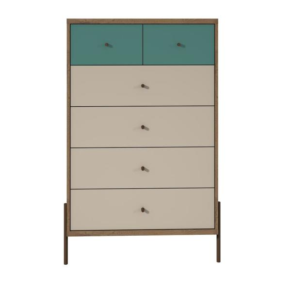 Manhattan Comfort Joy 48.43 in. Tall 6-Drawer Blue and Off White
