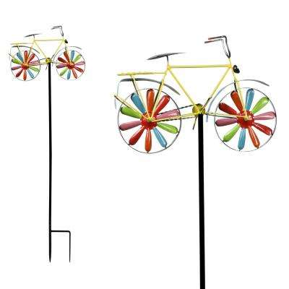 Metal Bicycle Windspinner Garden Stake - Display of 9