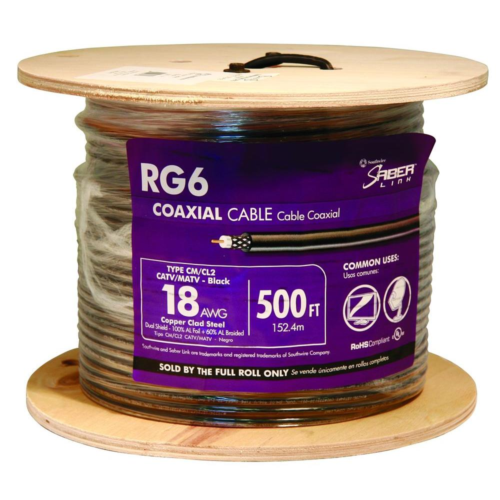 Southwire 500 ft. 18 RG6 Dual Shield CU CATV CM/CL2 Coaxial Cable in ...