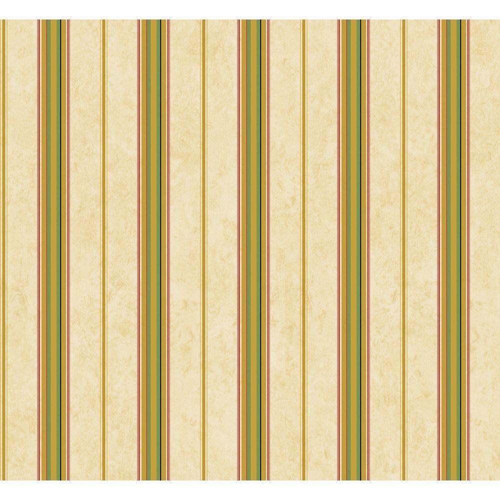 The Wallpaper Company 56 sq. ft. Green Multi Stripe Wallpaper