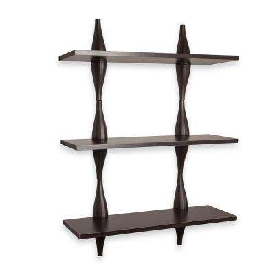 Contempo Lava 27.5 in. W x 40 in. H Walnut Grain Laminated MDF Three Level Shelving System with Ondulating Brackets