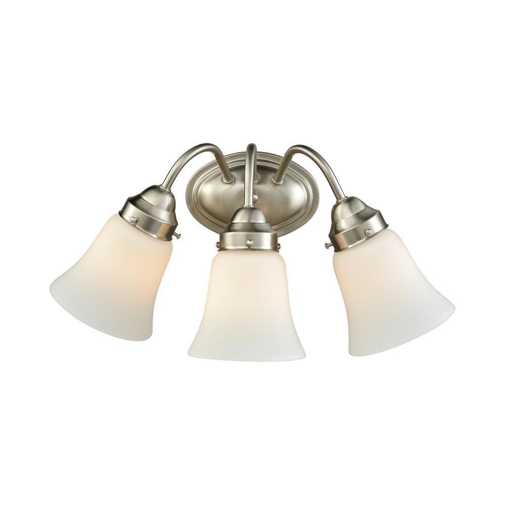 Califon 3-Light Brushed Nickel With White Glass Bath Light