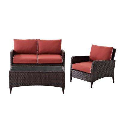 Kiawah 3-Piece Wicker Conversation Set with Sangria Cushions