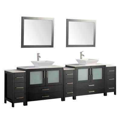 Ravenna 108 in. W x 18.5 in. D x 36 in. H Bathroom Vanity in Espresso with Double Basin Top in White Ceramic and Mirrors