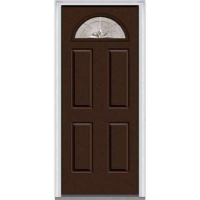 30 in. x 80 in. Heirloom Master Right-Hand 1/4-Lite Decorative 4-Panel Painted Fiberglass Smooth Prehung Front Door