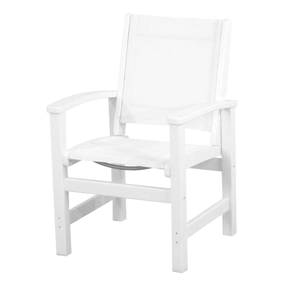 Polywood Coastal White Patio Dining Chair with White Sling