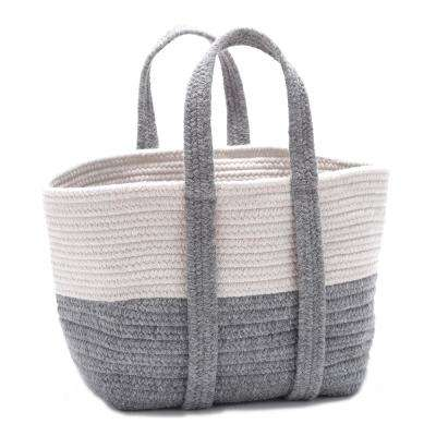 2-Tone 16 in. x 14 in. x 16 in. Wool-Blend Storage in Tote in Light Gray