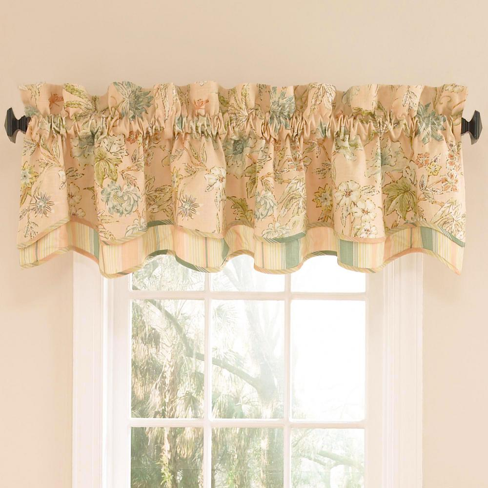 Waverly 18 In L Cotton Lined Window Valance In Coral