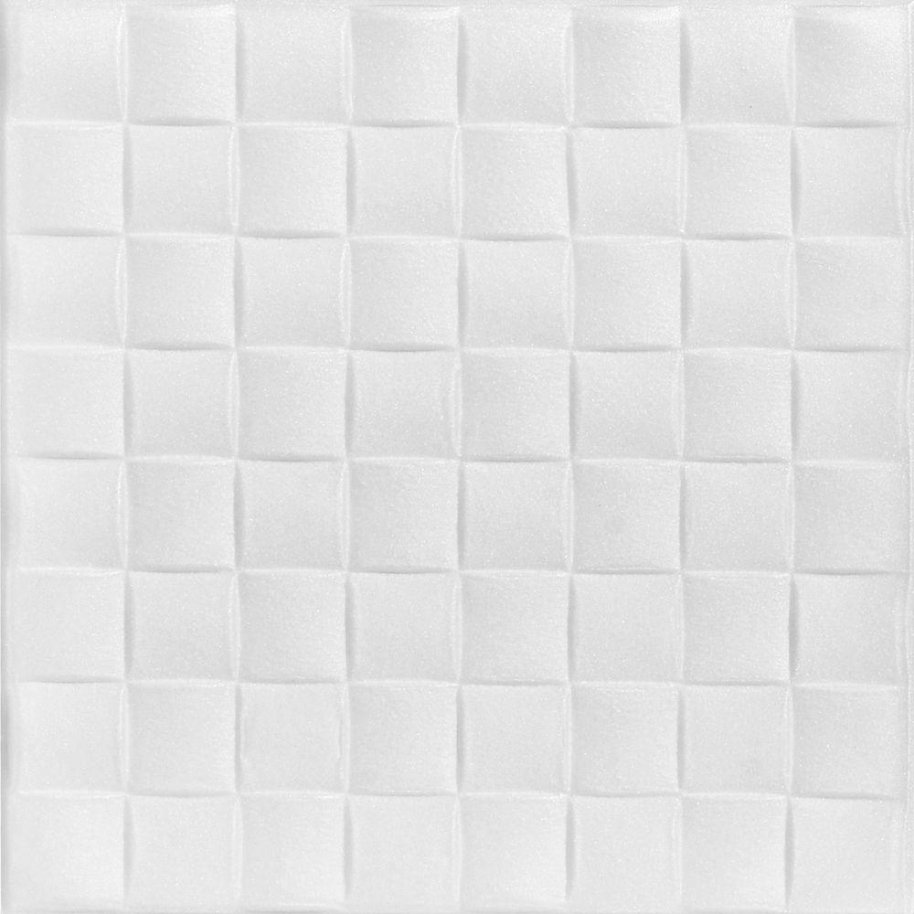 A La Maison Ceilings Cobblestone 1 6 Ft X 1 6 Ft Foam Glue Up Ceiling Tile In Plain White 21
