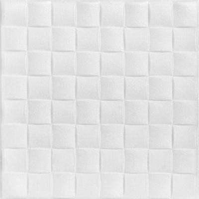 Cobblestone 1.6 ft. x 1.6 ft. Foam Glue-up Ceiling Tile in Plain White (21.6 sq. ft. / case)