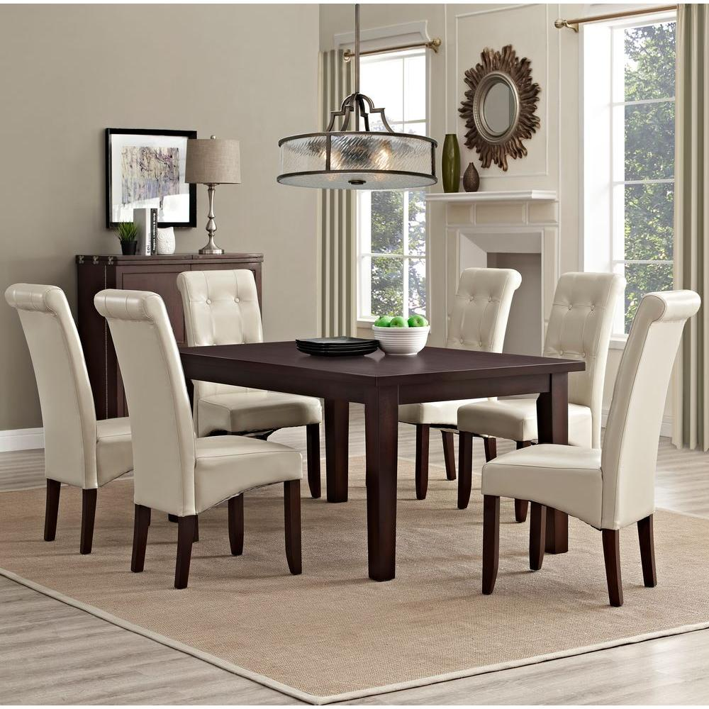 simpli home cosmopolitan 7 piece satin cream dining set axcds7 cos cr the home depot. Black Bedroom Furniture Sets. Home Design Ideas