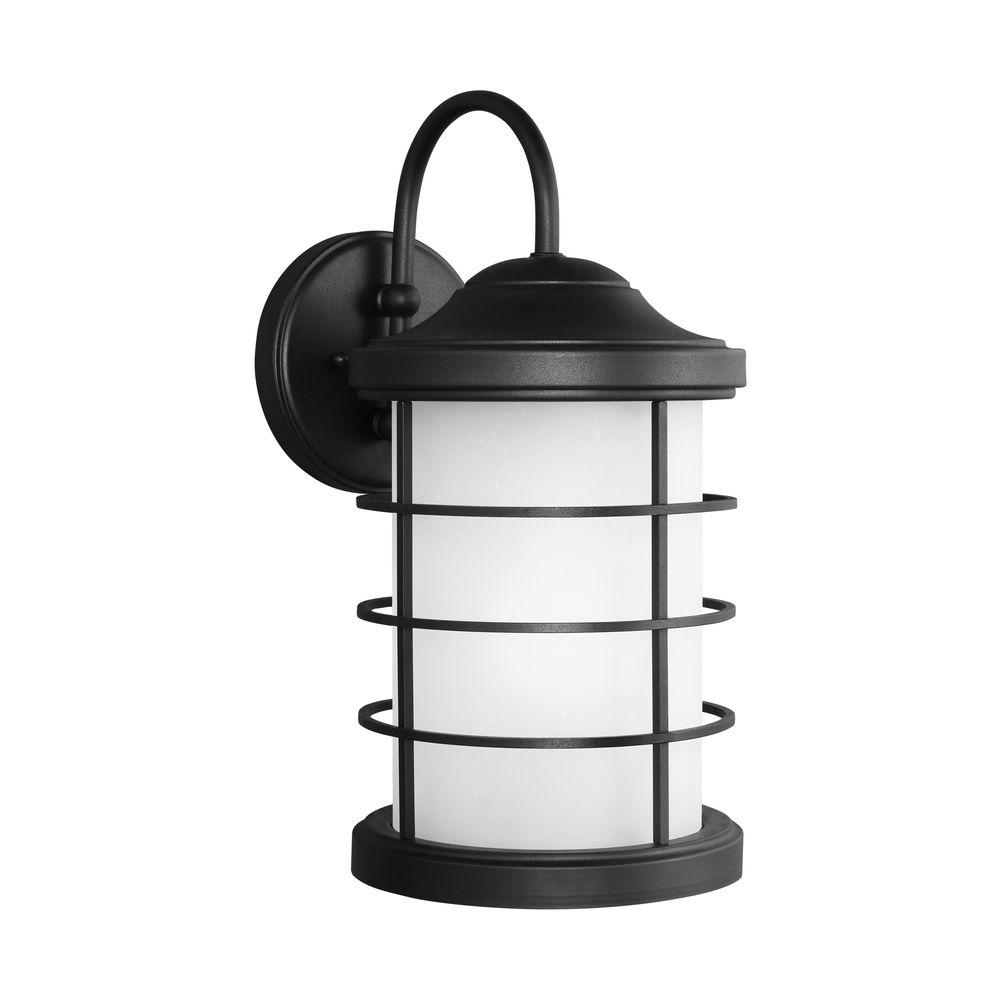 Sea Gull Lighting Sauganash 1-Light Black 16.75 in. Wall Lantern Sconce