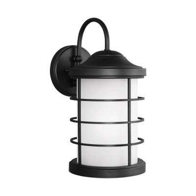 Sauganash 1-Light Black 16.75 in. Wall Lantern Sconce