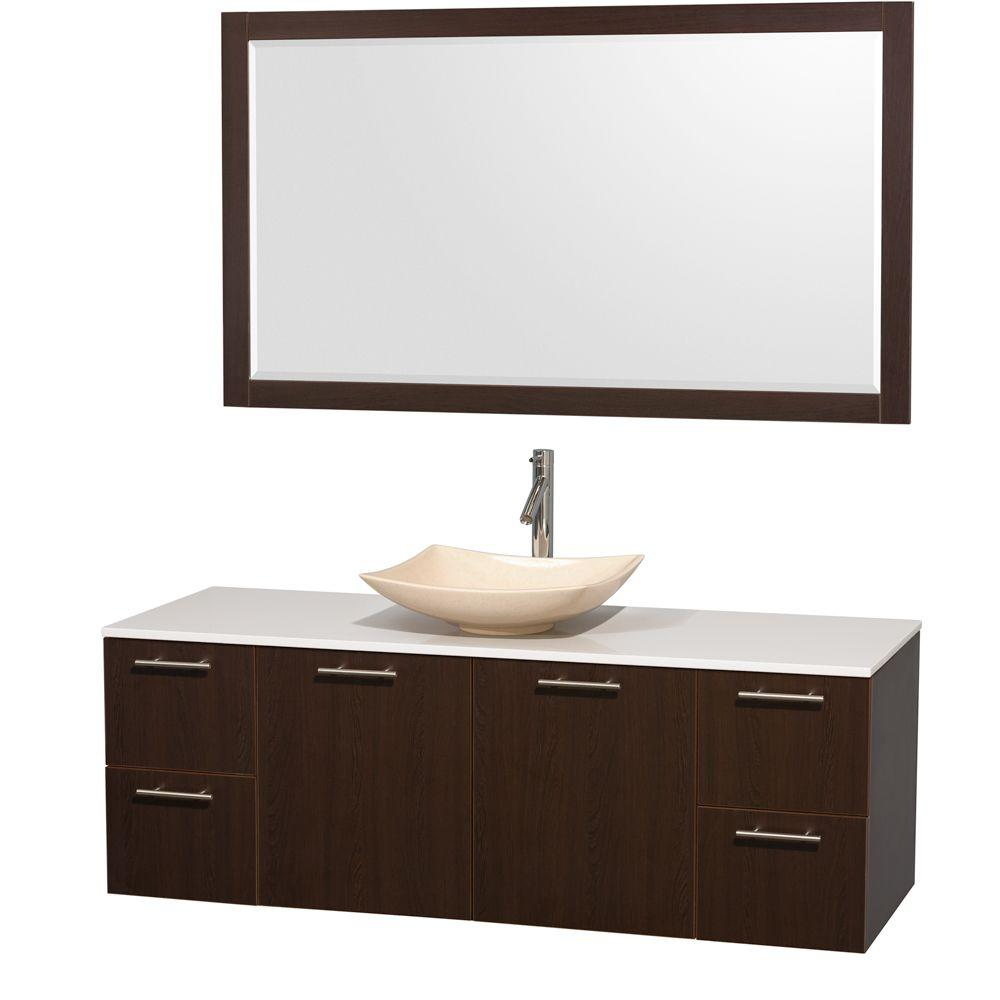 Wyndham Collection Amare 60 in. Vanity in Espresso with Solid-Surface Vanity Top in White, Marble Sink and 58 in. Mirror