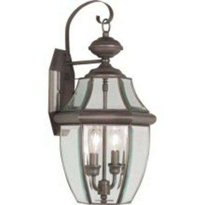 Providence 2-Light Bronze Outdoor Wall Lantern with Clear Beveled Glass