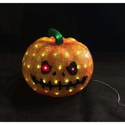 11.8 in. 80-Light White LED Decorative Pumpkin