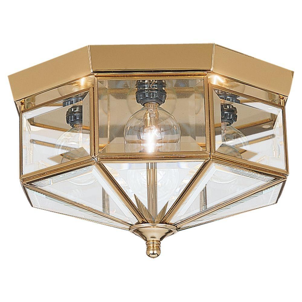 Sea Gull Lighting Grandover 4-Light Polished Brass Flush Mount-7662 ...