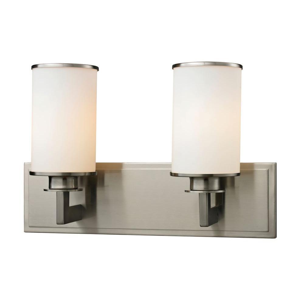 Lacy 2-Light Brushed Nickel Bath Vanity Light