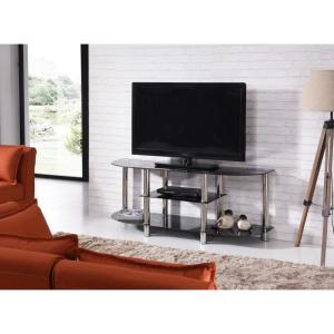 55 in. Wide Black Tempered Glass TV Stand
