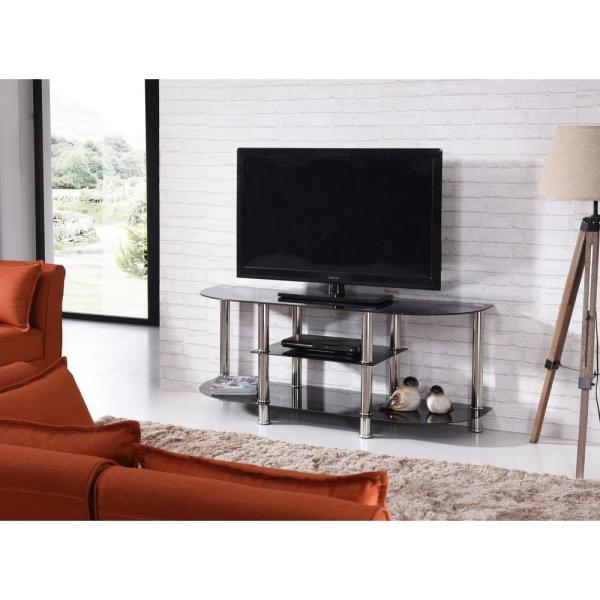 finest selection dc6b4 48476 55 in. Wide Black Tempered Glass TV Stand