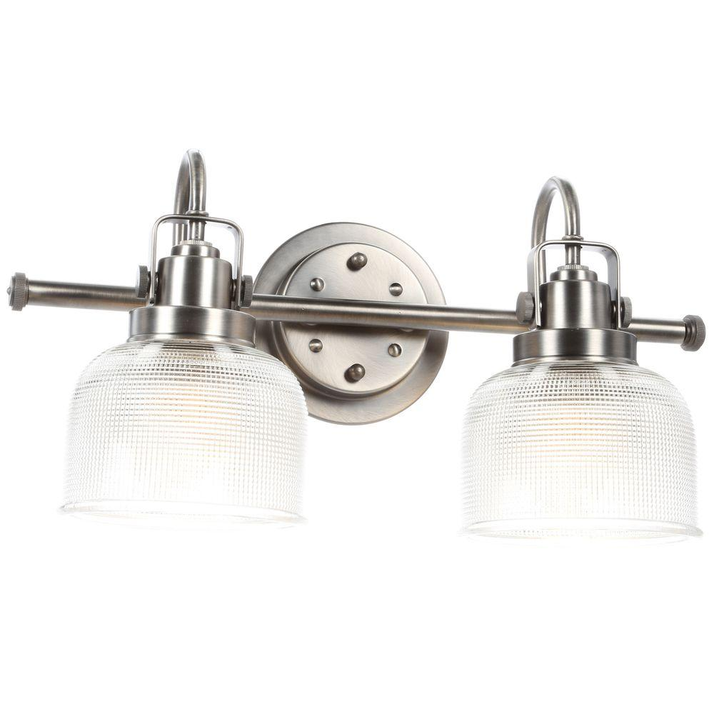 Progress lighting archie collection 2 light antique nickel vanity progress lighting archie collection 2 light antique nickel vanity light with clear polished glass shades p2991 81di the home depot arubaitofo Image collections