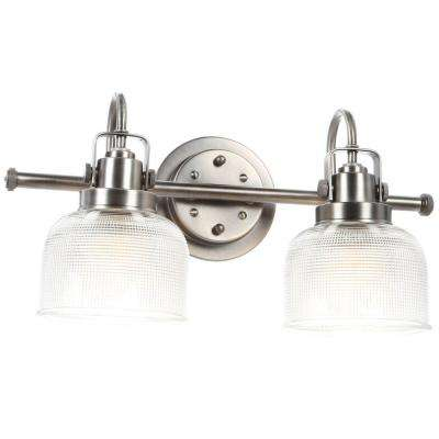 Archie Collection 17 in. 2-Light Antique Nickel Bathroom Vanity Light with Glass Shades