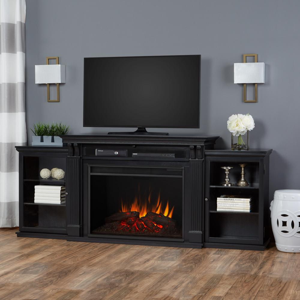 electric fireplace tv stand entertainment center in black - Tv Stands Entertainment Centers