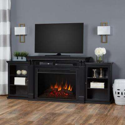 Tracey Grand 84 in. Electric Fireplace TV Stand Entertainment Center in Black