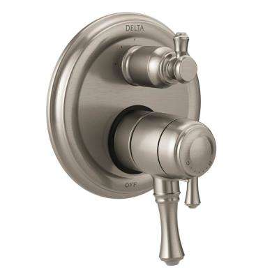 Cassidy 2-Handle Wall-Mount Valve Trim Kit with 3-Setting Integrated Diverter in Stainless (Valve Not Included)