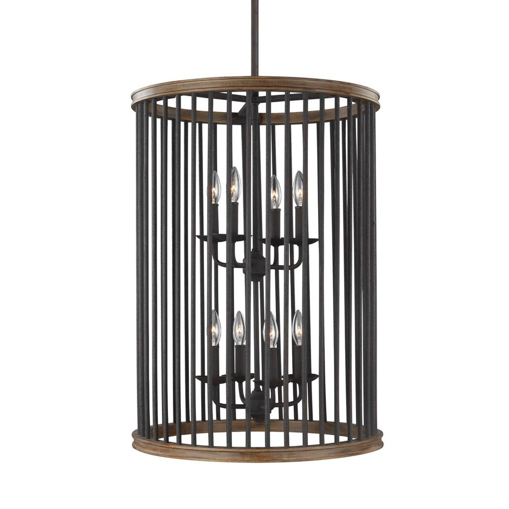 Locke 8-Light Weathered Rusted Iron/Textured Weathered Oak Foyer Lantern