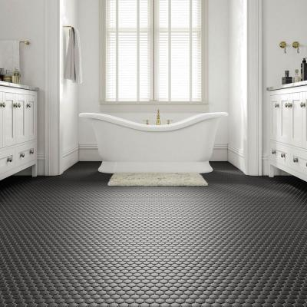 Restore Matte Black Hexagon 10 in. x 12 in. x 6.35 mm Glazed Ceramic Mosaic Tile (0.81 sq. ft./piece)