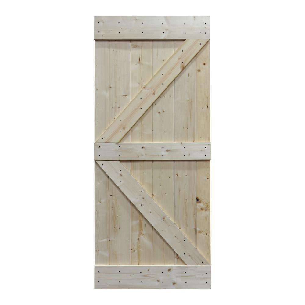 36 in. x 84 in. Knotty Pine Sliding Interior Barn Door Slab