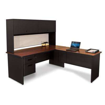 72 in. W x 78 in. D Black, Mahogany and Chalk Desk with Return