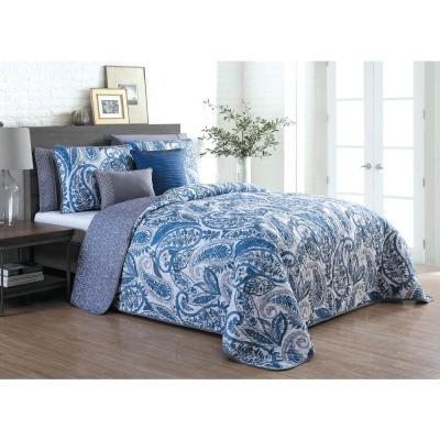 Seville 7-Piece Queen Blue Quilt Set
