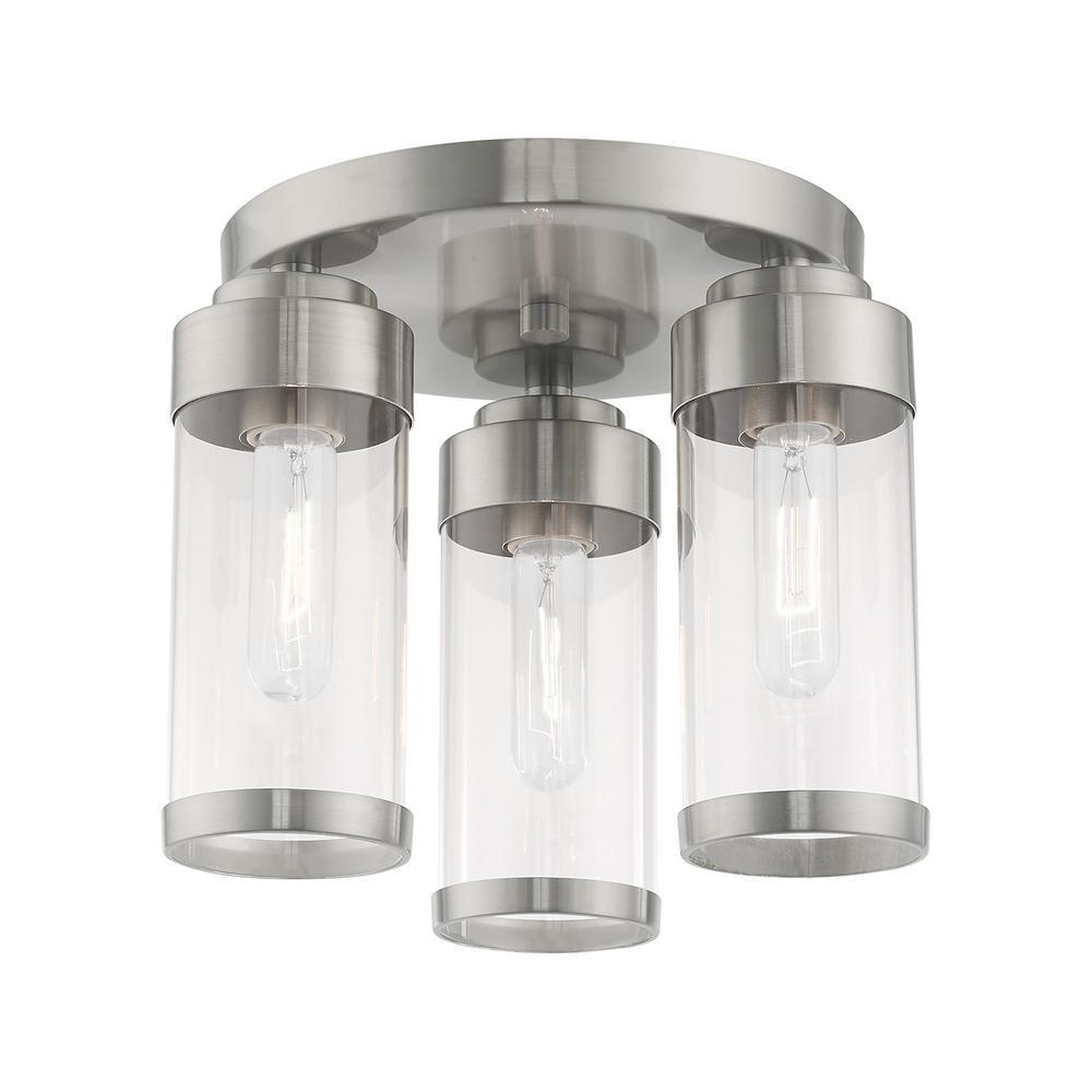 Hillcrest 12 in. 3-Light Brushed Nickel Semi-Flush Mount Light
