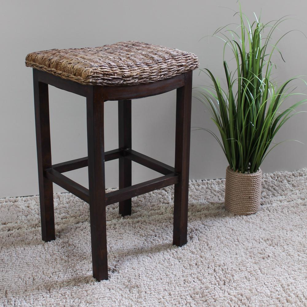 Arizona Abaca Cushioned Saddle Seat Bar Stool with Mahogany Frame-SG ...