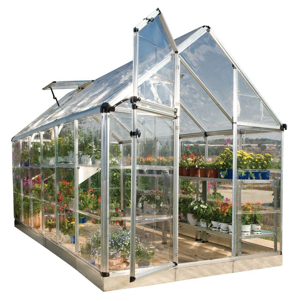 Palram Snap And Grow 6 Ft X 12 Ft Silver Polycarbonate Greenhouse