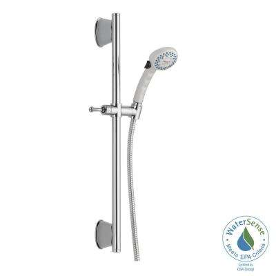 2-Spray Handheld Showerhead with Slide Bar and Pause in White