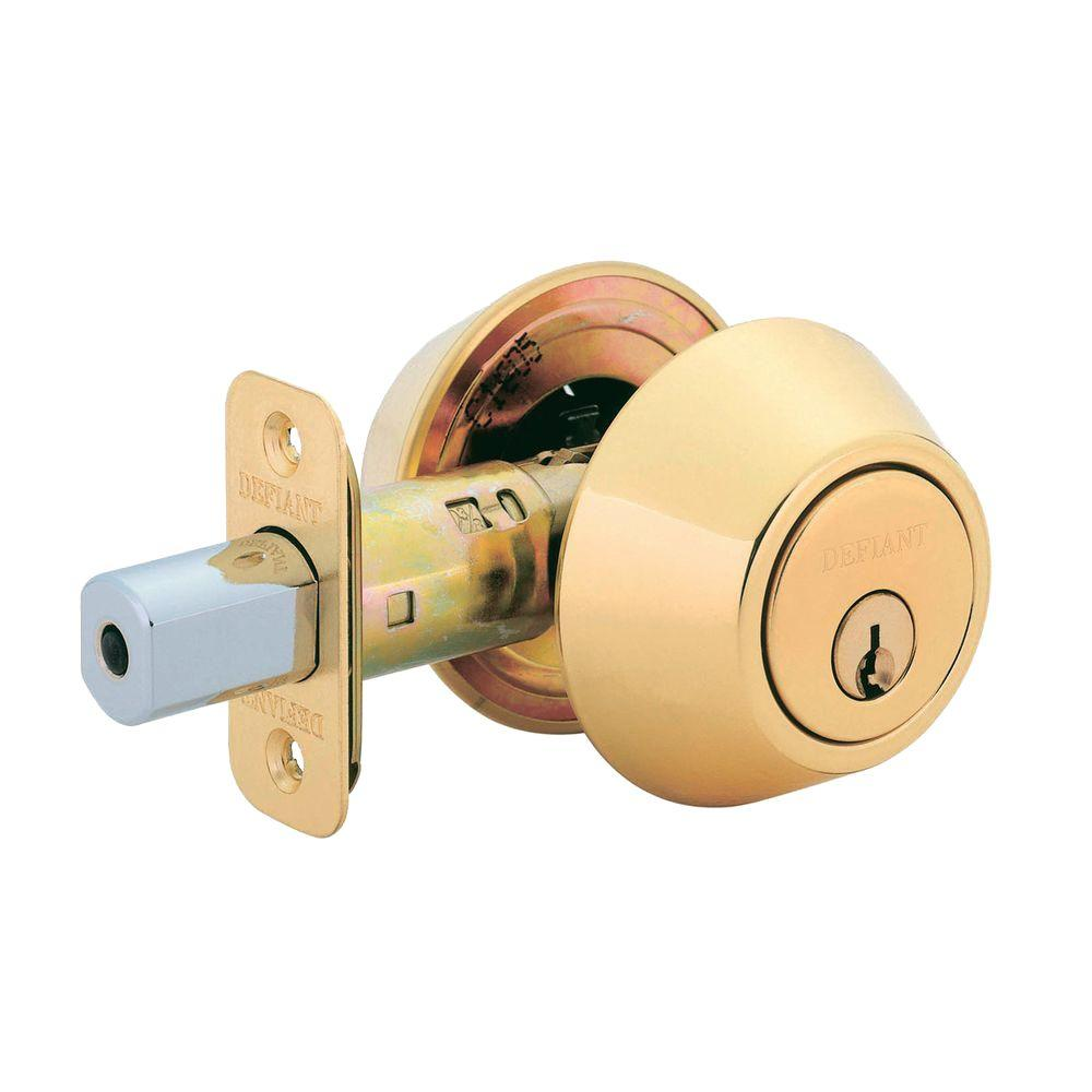 defiant double cylinder polished brass deadbolt dl72 the home depot