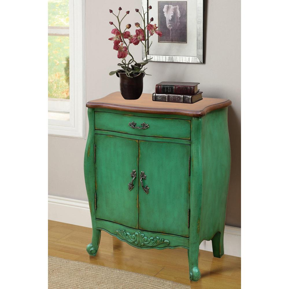 Null Hand Painted 1 Drawer Distressed Green Accent Chest