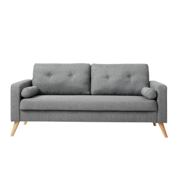 AC Pacific Alvin 3-Seat Grey Fabric Upholstered Living Room Sofa