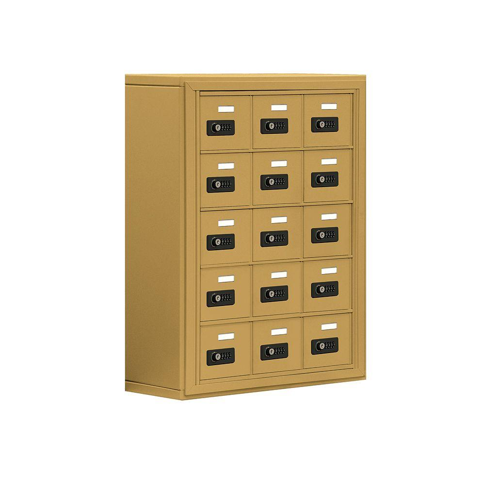 Salsbury Industries 19000 Series 24 in. W x 31 in. H x 9.25 in. D 15 A Doors S-Mount Resettable Locks Cell Phone Locker in Gold