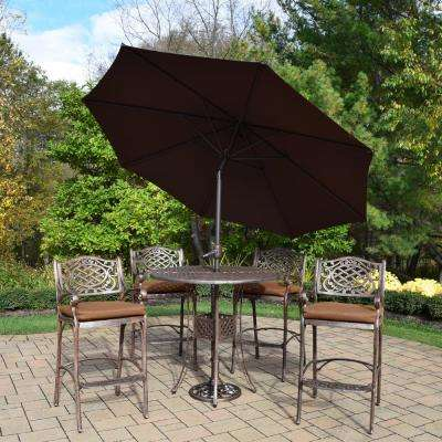 Elite Mississippi 7-Piece Aluminum Outdoor Bar Height Dining Set with Sunbrella Brown Cushions and Brown Umbrella