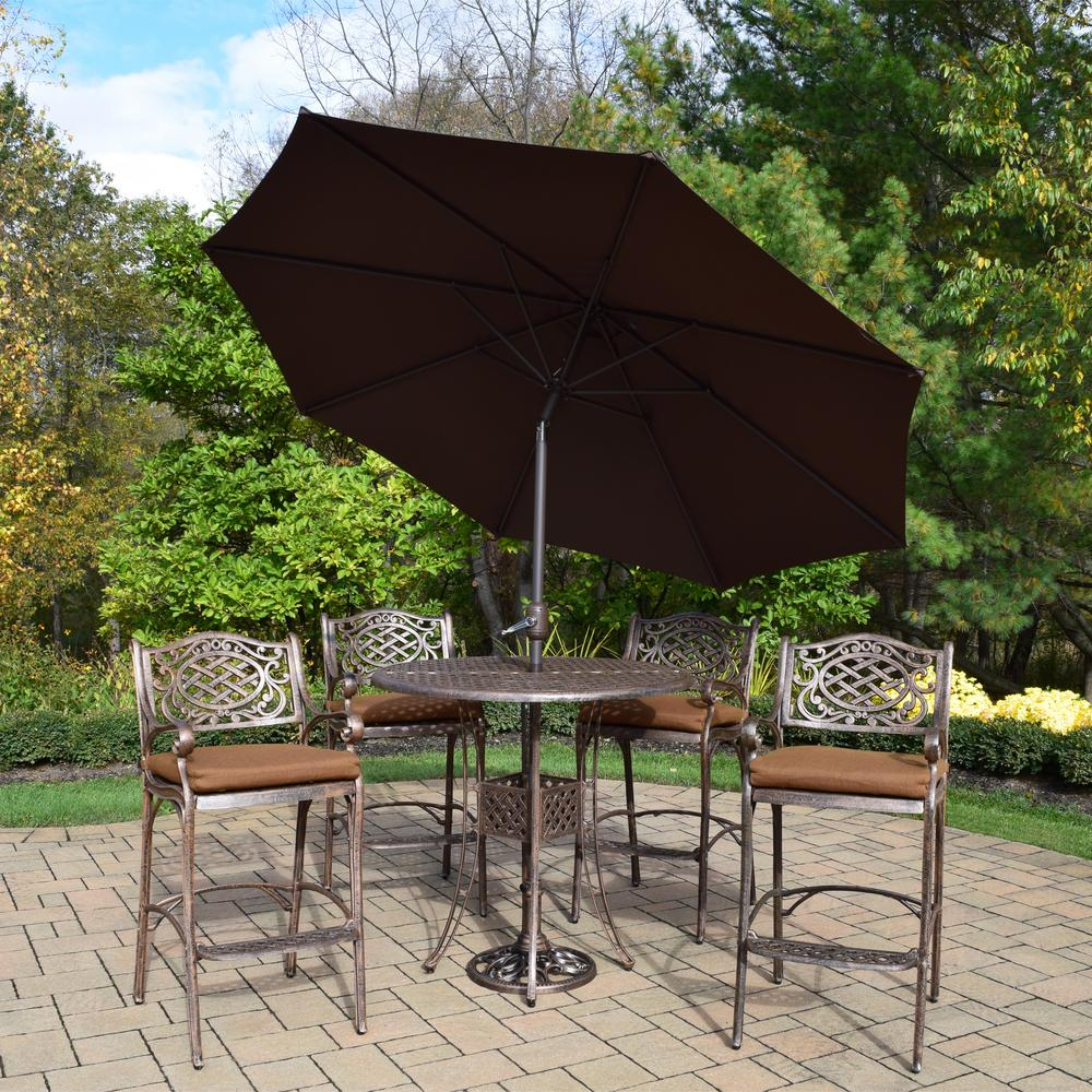 Internet 303750954 Elite Mississippi 7 Piece Aluminum Outdoor Bar Height Dining Set