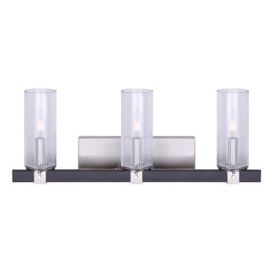 Cedar 24 in. 3-Light Matte Black and Brushed Nickel Vanity Light with Seeded Glass Shades