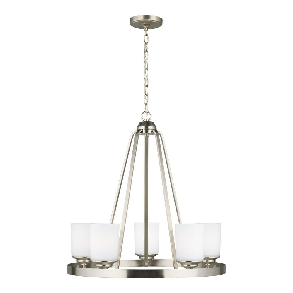 Kemal 5-Light Brushed Nickel Transitional Chandelier with Etched White Inside Glass Shades