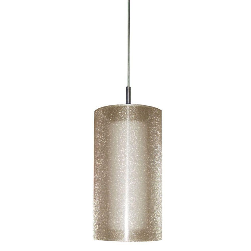 Radionic Hi Tech Dainolite 1-Light Satin Chrome Pendant with Frosted Glass and Laminated Organza Gold Shade