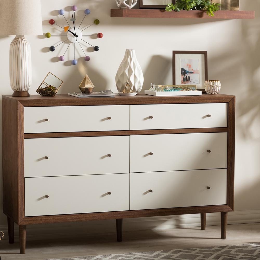 Baxton Studio Harlow 6-Drawer White and Medium Brown Wood Dresser 28862-6781-HD