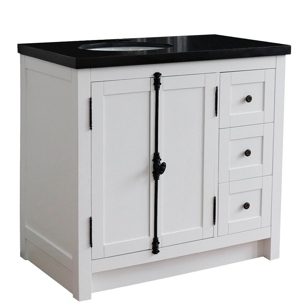Bellaterra Home 37 in. W x 22 in. D x 36 in. H Bath Vanity in Glacier Ash with Black Granite Vanity Top and Left Side Oval Sink